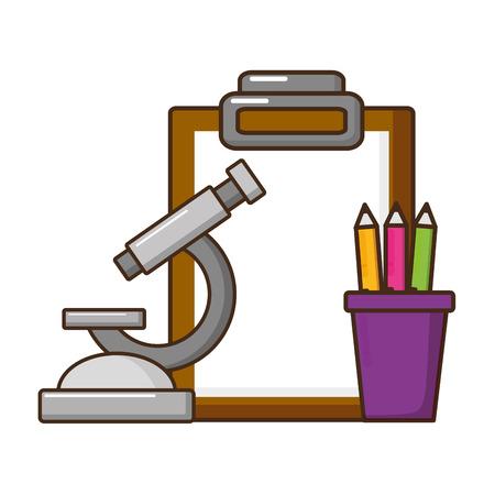 school microscope pencils clipboard supplies vector illustration design Illustration