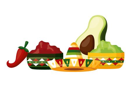 sombrero, aguacate, guacamole, ají, salsas, vector, ilustración Ilustración de vector