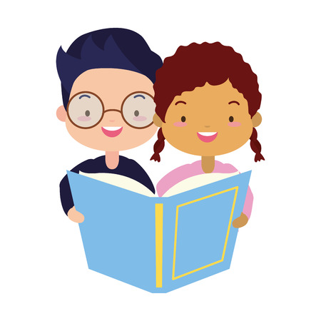 boy and girl with textbook kids world book day vector illustration Banco de Imagens - 122872929