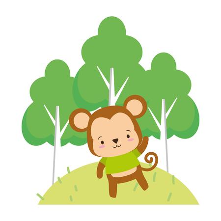 cute monkey cartoon trees vector illustration design