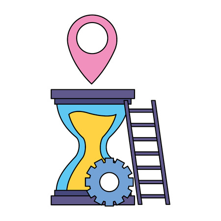work hourglass gears stairs pointer vector illustration Ilustrace