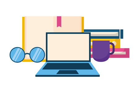 world book day books laptop coffee cup and eyeglasses vector illustration Stock Illustratie