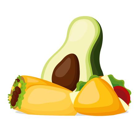 avocado burrito taco mexican food vector illustration