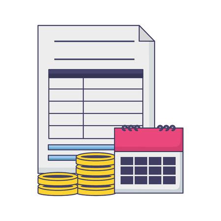 paper calendar coins money tax payment vector illustration Ilustrace