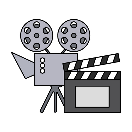 cinema projector and clapperboard isolated icon vector illustration design