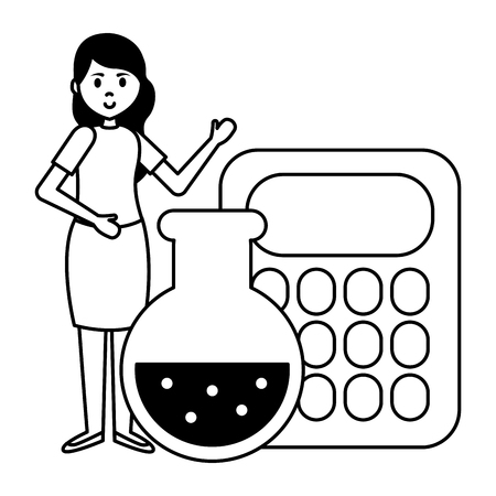 teacher calculator and flask chemistry teachers day vector illustration