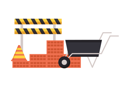 wheelbarrow wall brick barricade construction equipment vector illustration 스톡 콘텐츠 - 122872996