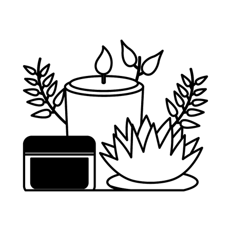 candle flower cream spa treatment therapy vector illustration