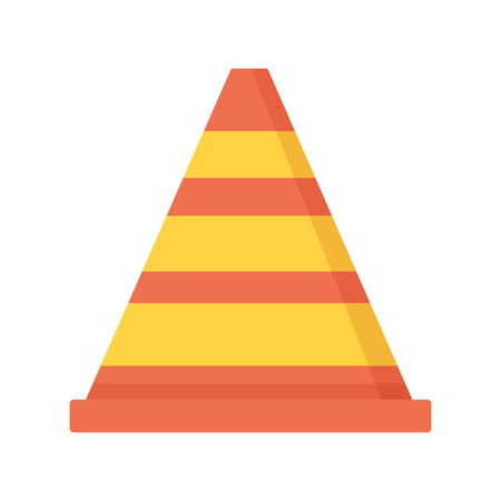 traffic cone construct icon on white background vector illustration Çizim
