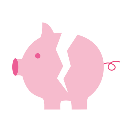 broken piggy bank on white background vector illustration