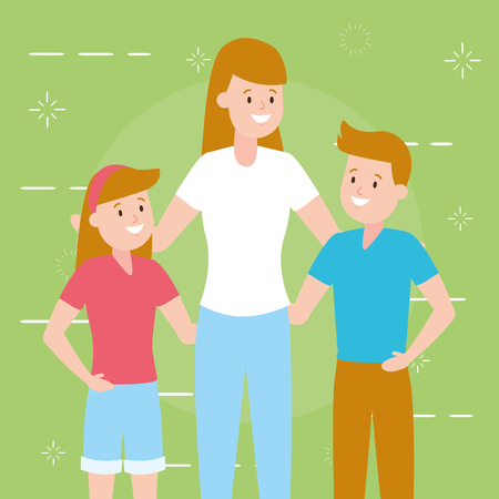 mom with son and daughter vector illustration Foto de archivo - 122873018