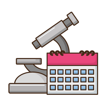 school science microscope calendar vector illustration design