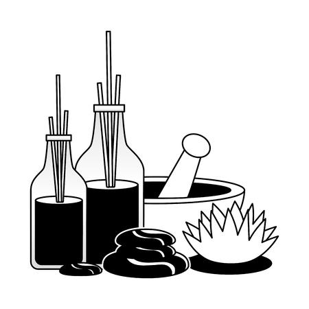 aromatherapy sticks bowl stones flower spa therapy treatment vector illustration