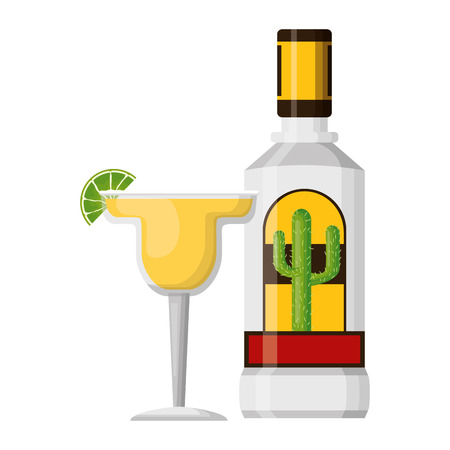 mexican bottle tequila cocktail lemon vector illustration Ilustração