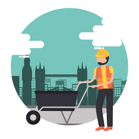 worker construction tool city background vector illustration Ilustrace