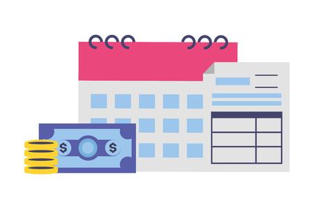 form calendar banknote money tax payment vector illustration Foto de archivo - 122873102