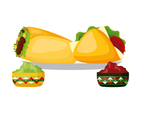 mexican burrito taco sauces food vector illustration