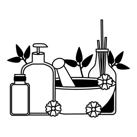 aromatherapy sticks bowl cream lotion flowers spa therapy vector illustration Ilustração