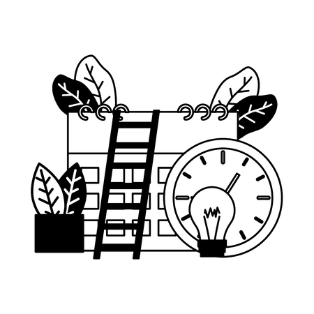 work clock time calendar bulb stairs vector illustration