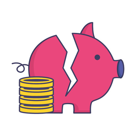 broken piggy bank coins stacked on white background vector illustration Çizim