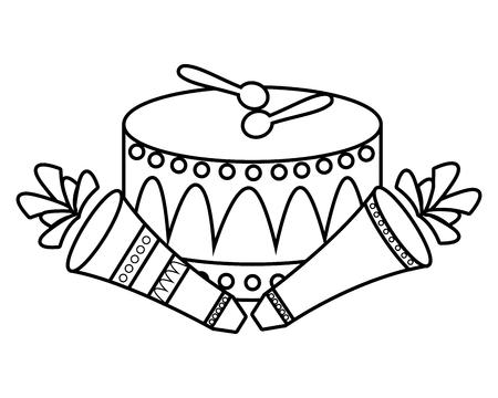 carnival drum fireworks festive vector illustration design Çizim