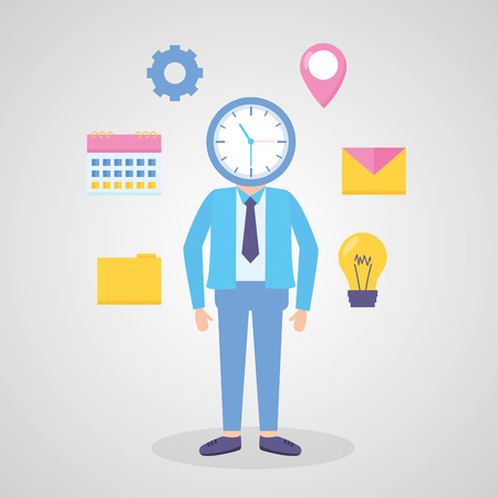 businessman with clock shape head vector illustration