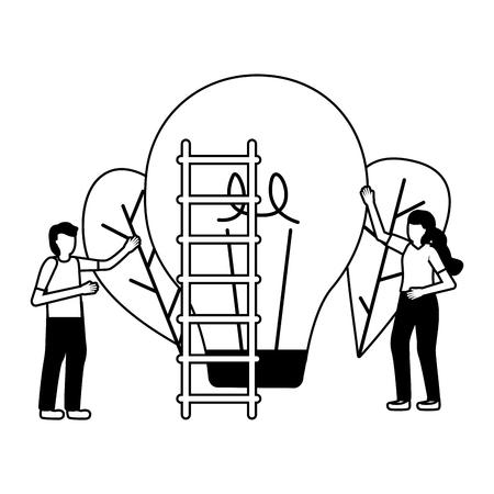 business man and woman bulb creativity vector illustration Ilustrace