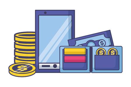 smartphone wallet money tax payment vector illustration Illustration