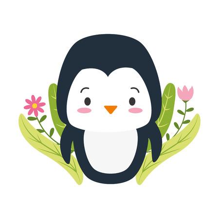 cute penguin cartoon flowers leaves vector illustration design