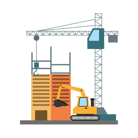 building construction crane bulldozer tools vector illustration Stock Vector - 122873159