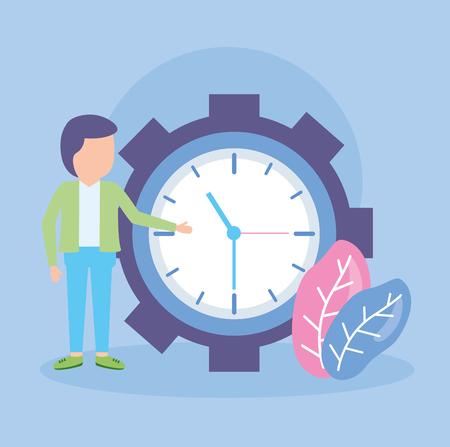 businessman clock time work design vector illustration