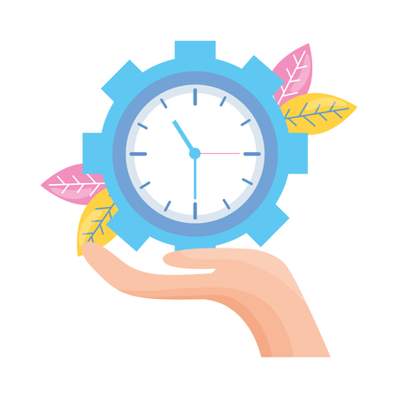 hand holding clock gear work vector illustration