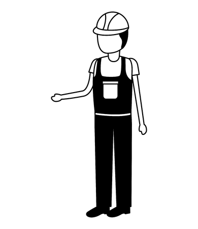 construction worker in overall uniform vector illustration Ilustrace