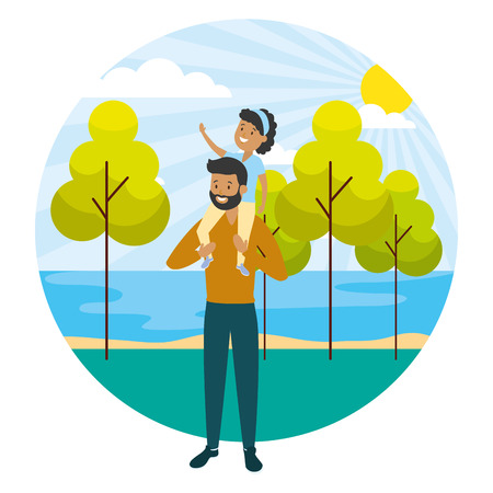 father daughter on his shoulders outdoors vector illustration