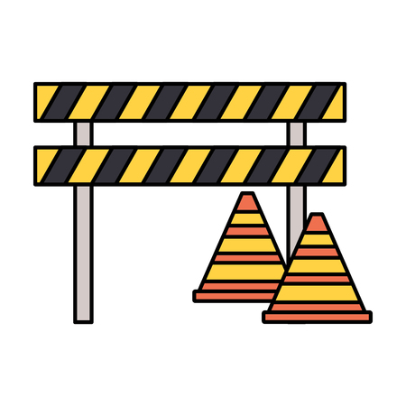barricade repair construction traffic triangles vector illustration