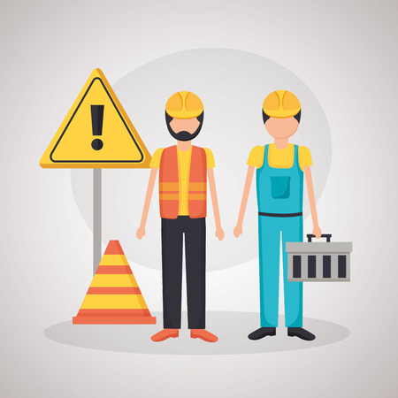workers construction equipment warning sign cone vector illustration