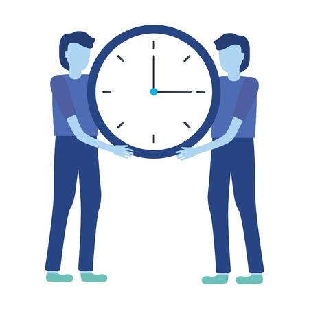 businessmen holding clock time work vector illustration Stock Vector - 122873216