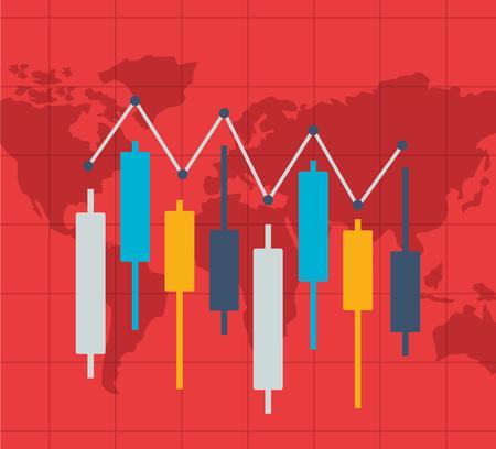 candlestick chart world financial stock market vector illustration