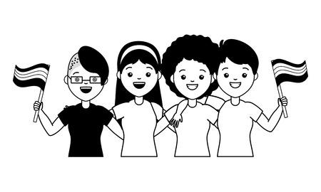 group women with flag lgbt pride vector illustration Illustration