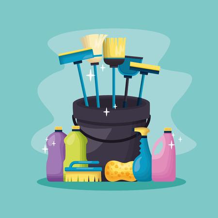cubo escoba trapeador esponja cepillo primavera limpieza herramientas ilustración vectorial