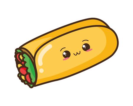 Diseño de ilustración de vector de personaje de burrito de dibujos animados kawaii