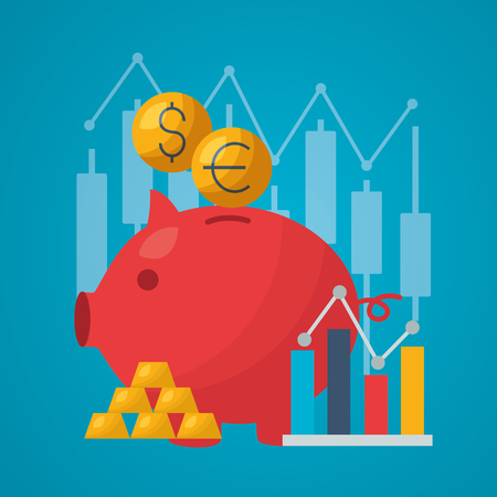 piggy bank coins chart financial stock market vector illustration