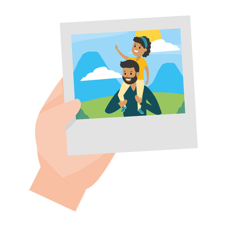 hand with photo father and daughter landscape vector illustration design