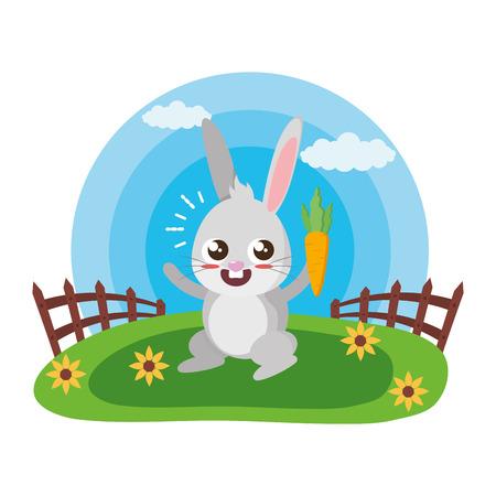 süßes Kaninchen mit Karotte in der Wiesenvektorillustration