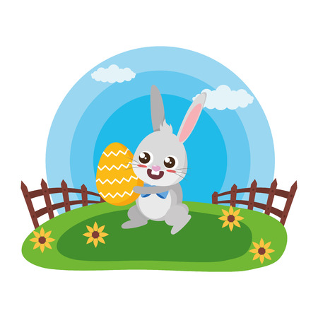 happy easter rabbit with egg in the meadow vector illustration Stock Illustratie