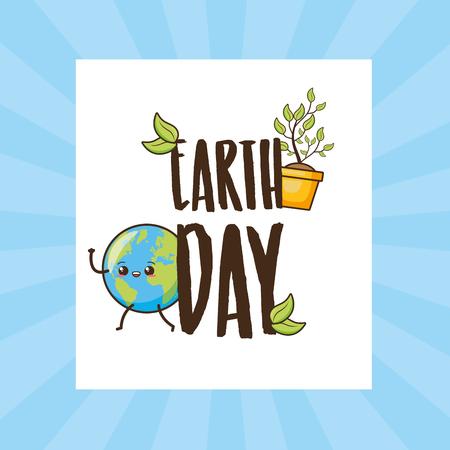 planet earth day lettering celebration vector illustration Ilustração