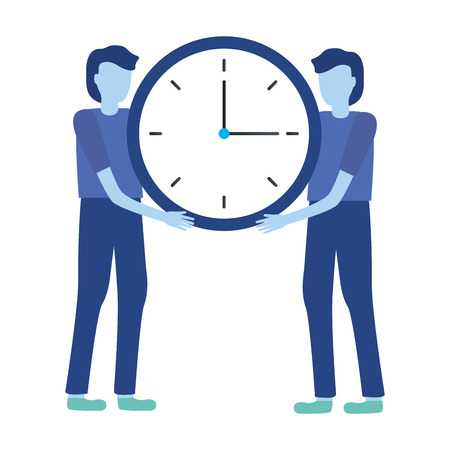 businessmen holding clock time work vector illustration