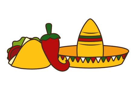 hat taco jalapeno mexico cinco de mayo vector illustration Archivio Fotografico - 121665536