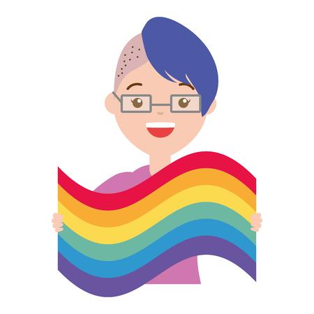 happy woman with rainbow flag lgbt pride vector illustration