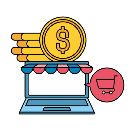 laptop computer with coins and shopping cart vector illustration design